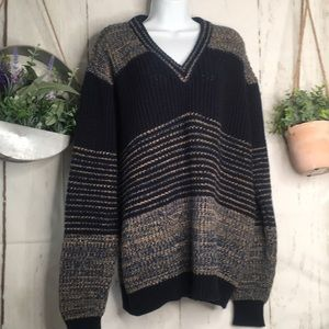 Vintage Navy Blue Tan Chunky Grandpa Knit Sweater